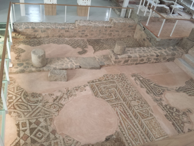 Early Christian floor mosaics in the newly restored Small Basilica in Bulgaria's Plovdiv. Photo by Realsteel007, Wikipedia