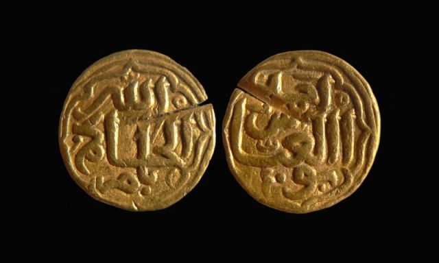 An 11-gram gold Indian coin minted by the Delhi Sultanate apparently found its way to the medieval Second Bulgarian Empire halfway around the world in the 14th century. Photo by National Museum of History