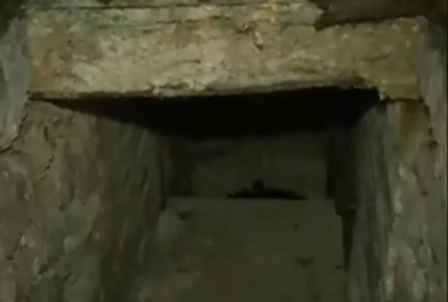 The entrance of the rediscovered Roman family tomb in downtown Varna. Photo: TV grab from BNT 2