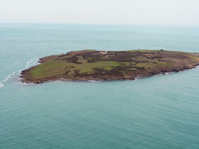 The St. Ivan (St. John) Island in the Black Sea off Bulgaria's Sozopol where in July 2010 Bulgarian archaeologist Prof. Kazimir Popkonstantinov discovered a reliquary with St. John the Baptist's relics during excavations of an Early Christian basilica and monastery. Photo: Prof. Kazimir Popkonstantinov, their discoverer.