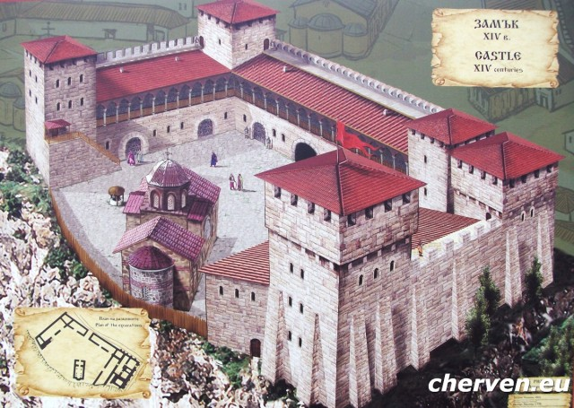 A painting of what Cherven's feudal castle must have looked like in the 14th century, according to the archaeological findings. Photo by Cherven.eu
