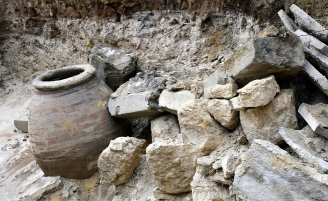 Parts of the Late Antiquity fortress wall of Ancient Odessos recently found by the Varna archaeologists have been reduced to rubble as a result of a flooding and/or water utility workers' efforts to stop it. Photo by Varna Utre