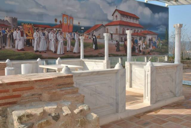 An Early Christian procession is depicted as part of the restoration of the Late Antiquity Byzantine fortress and town on the Cape of St. Athanasius on Bulgaria's Black Sea coast. Photo by Facebook Page of Ancient Fortress St. Athanasius