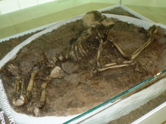 "The 8,000-year-old grave of a woman dubbed ""Todorka"" from the Early Neolithic settlement in Bulgaria's Ohoden, as exhibited in the Vratsa Regional Museum of History. Photo by Vassia Atanassova - Spiritia, Wikipedia"