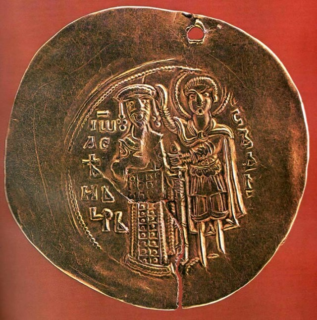 A golden coin minted by Tsar Ivan Asen II of the Second Bulgarian Empire; the image shows St. Demetrius of Thessaloniki placing a crown on his head, 18-carrat gold. Photo by daskalo.com