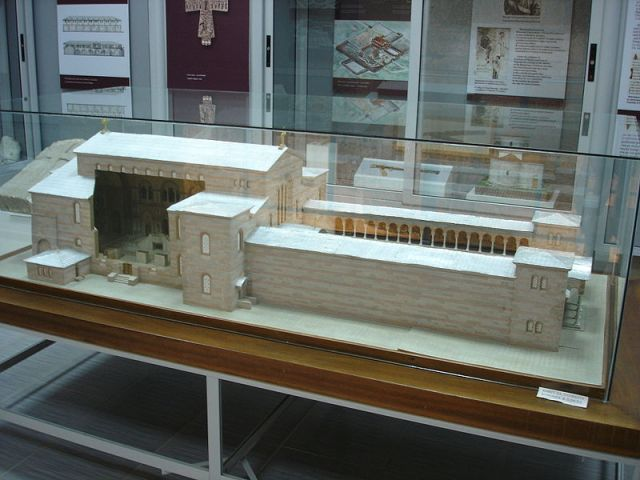 A model from the Pliska Museum of History showing what the Great Basilica in the then Bulgarian capital looked like after its construction in the 9th century AD. Photo by Svilen Enev, Wikipedia