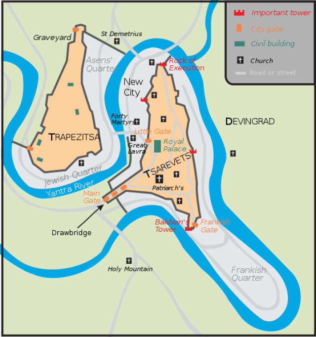 This map shows the ogranization of the capital of the Second Bulgarian Empire, Tarnovgrad (Veliko Tarnovo). The royal palaces and major churches and monasteries were located on the two fortified hills - Trapesitsa and Tsarevets, with the Yantra River boosting their natural defenses. Map by Todor Bozhinov, Wikipedia