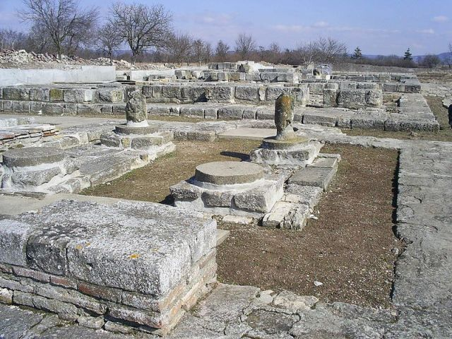 Ruins of Bulgaria's 7th-9th century capital Pliska. Photo by Svilen Enev, Wikipedia