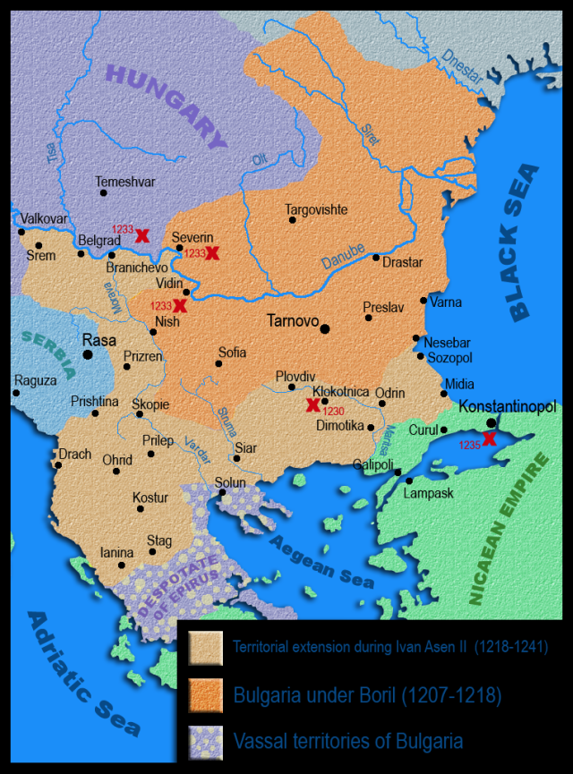 A map of the Second Bulgarian Empire before and during the reign of Tsar Ivan Asen II. Map by Kandi, Wikipedia