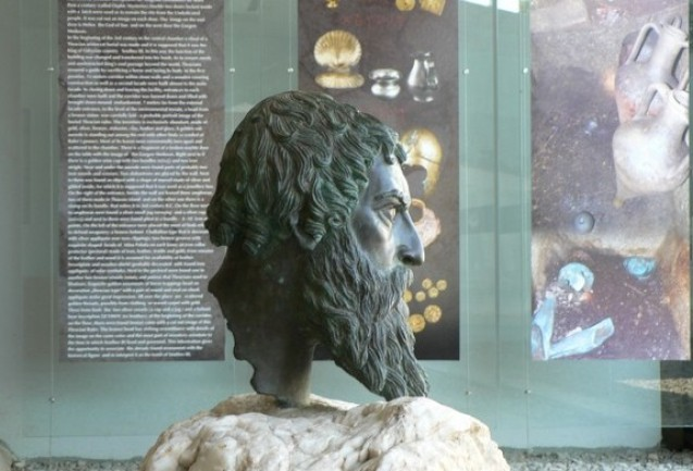 A lateral view of the lifelike bronze head of Ancient Thracian Odryssian King Seuthes III. It is exhibited in his tomb, near Bulgaria's Kazanlak. Photo by kazanlak.com