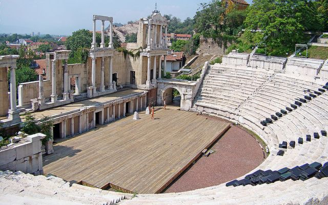 The Ancient Theater is perhaps the most emblematic landmark of Bulgaria's Plovdiv, which is said to be Europe's oldest city. Photo: Edal, Wikipedia