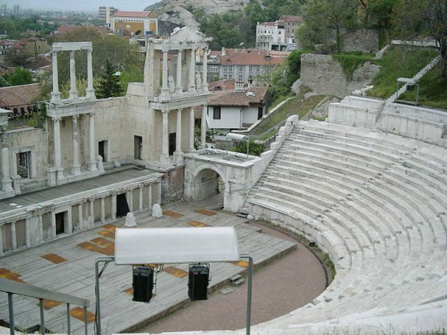 The Ancient Theater, probably the most emblematic landmark of Bulgaria's Plovdiv. Not to be confused with the Odeon. Photo: CdaMVvWgS, Wikipedia