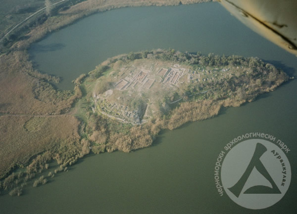 An aerial view of the Big Island Peninsula in the Durankulak Lake. Photo: Durankulak Black Sea Archaeological Park
