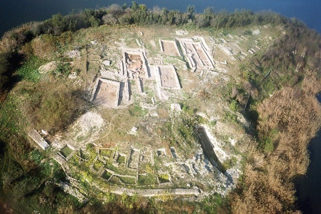 An aerial view of the prehistoric settlement on the Big Island (today a peninsula) in the Durankulak Lake, a lagoon located near the town of Durankulak, Shabla Municipality, in the northeastern-most corner of today's Bulgaria. Photo: Dobrich Regional Museum of History