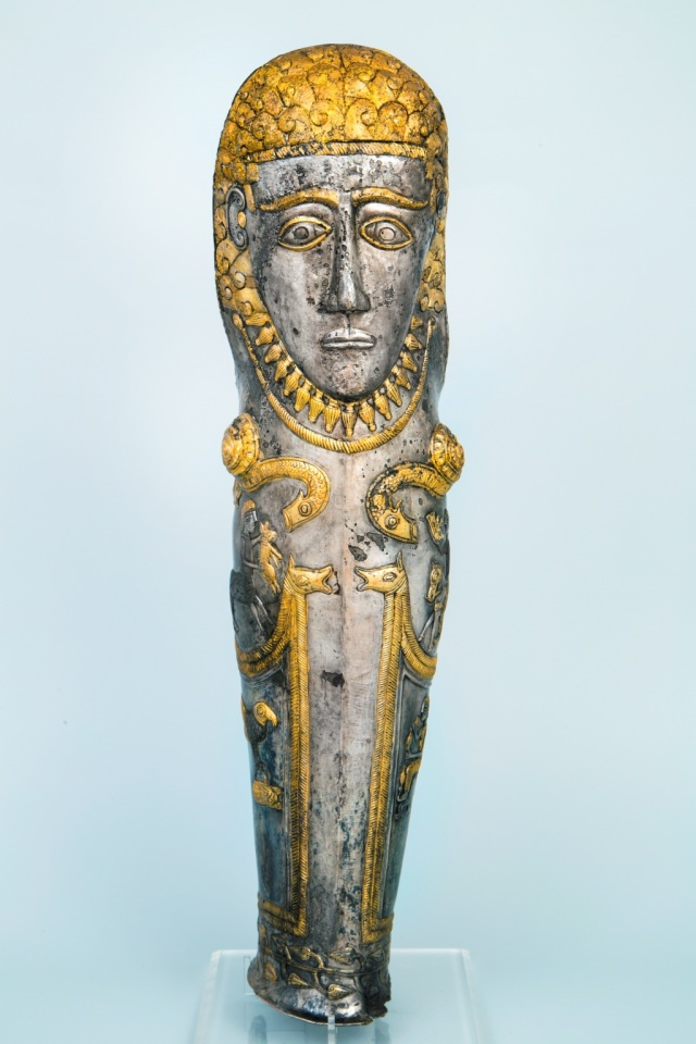 "This gold and silver greave (knee-piece) is from the Ancient Thracian treasure of Zlatinitsa-Malomirovo dated to the first half of the 4th century BC is one of the 1629 archaeological items to be displayed in the exhibition ""Thracian Kings' Epic. Archaeological Discoveries in Bulgaria"" in the Louvre. This item is part of the collection of Bulgaria's National Museum of History. Photo: Todor Dimitrov, Bulgaria's Ministry of Culture"