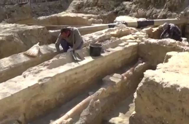 The main aqueduct of ancient Odessos and its entry point into the Odessos Fortress have been discovered by archaeologists in Bulgaria's Varna. Photo: TV grab from BTA