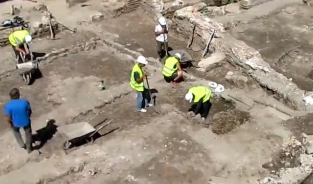 The rescue excavations of ancient Serdica during the construction of the Second Line of the Sofia Metro in 2011. Photo: TV grab from Vbox7