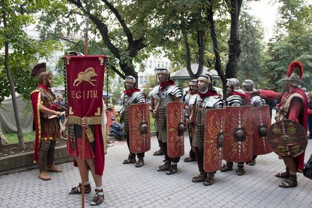 "Reenactors presenting Ancient Roman military tactics and costumes during the 2014 Fall edition of the Eagle on the Danube Festival in Bulgaria's Svishtov entitled ""The Vines of Novae"". Photo: Nelly Petrova, EagleontheDanube.org"